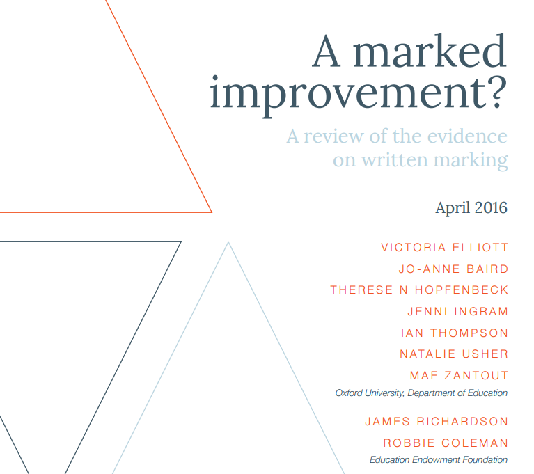 A Marked Improvement - A review of the evidence of written marking, EEF April 2016